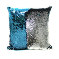 Wholesale 17 Colors Hot Double Sequins Pillow Case cover Shiny Square Pillow Case Sofa Car Decorations Mermaid Bright Magic Pillow Case
