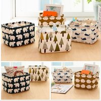 Wholesale Cute Linen Desk Storage Box Holder Jewelry Cosmetic Stationery Organizer Case Jewelry Cosmetic Stationery Sundries Animal Tree Home Decor