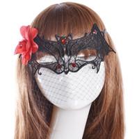 Wholesale Fashion red flower black lace bat mask sexy shape