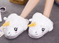 Wholesale 2017 Winter Warm Indoor Slippers Cute Cartoon Plush Unicorn Slippers for Grown Ups White Black Unisex Home Slippers