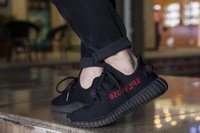 Wholesale With Original box Receipt Kanye West Boost V2 BY9612 Core Black Red Limited Mens Running Shoes Womens Sports Shoes DHL Free