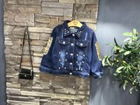 baby jean jackets - children outerwear coats girls clothing spring autumn fashion tops baby kids jackets long sleeve butterfly sequins denim jean coat
