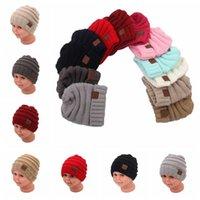 Niños CC Gorro Crochet Beanie Invierno Hedging Skull Caps CC Casual Trendy Chunky Estiramiento Cable Slouchy Knit Sombreros Navidad Regalo Niños F246
