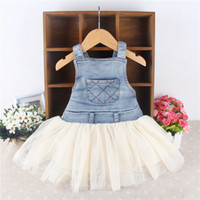 Wholesale Latest Cute Kids Baby Girls Toddler Summer Sundress Overalls Denim Frilly Tutu Dress Children Girls Bubble Siamese Outfits
