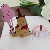 "0.39""x0.59""(10x15CM) bear invitations - Pink teddy bear brithday card love pop up greeting cards birthday invitations party supplies"