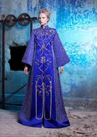 Cheap Elegant Dubai Kaftan Royal Blue Long Evening Dresses High Neck Caftan Abaya In Dubai Long Sleeve Arabic Dress Women Events Evening Gowns