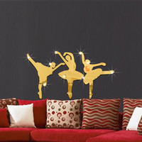 art classroom decorations - 3pcs x28cm creative dance ballet girl mirror paste bedroom living room music dance classroom decoration wall stickers