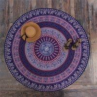 Wholesale New Arrivals Round Beach Blanket Mandala Printed Custom Yoga Mats Beach Roundie Circle Blanket Round Tapestry G21