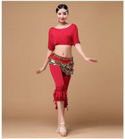 belly dance pants plus size - Women Belly Dance Clothes Dancing Practice Wear Professional Plus Size Belly Dance Costume Set Top Pants Suit Colors