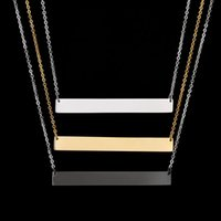 Wholesale Top Quality Never Fade Stainless Steel Blank Plain Necklace High Polished Simple Bar Pendant Necklace For Women Gift