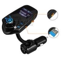 Wholesale T10 Car Wireless MP3 FM Transmitter LCD Display Bluetooth V3 EDR Handsfree Kit Support U Disk FLAC TF Card Handsfree Calling in Retail Box