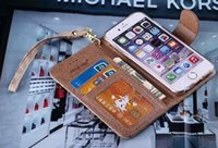 Wholesale luxury brand leather Wallet case with lanyard for iphone plus s s samsung galaxy s6 s7 edge note good quality