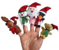 Wholesale 5pcs sets Christmas Stuffed Toys Baby Children Puppet Set Of Five Finger Toy Santa Reindeer Snowman Penguin Plush Dolls