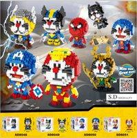 Wholesale DHL Doremon DIY Building Blocks Toys Puzzles Cartoon Kids Toy Action Figure Education Children Ideas Gift Copycat Super Hero