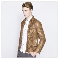 Wholesale Leather Jackets for Men Spring Autumn Fashion Stand Collar Mens Casual Motorcycle Leather Jacket Coats US Size XS L