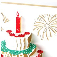Wholesale 3 D pop up handmade laser cut cards birthday cake and candles creative gift postcards birthday cards
