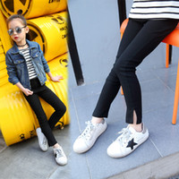Wholesale 2017 Spring and autumn children black tight trousers girl wild feet pants sweet pure color trousers