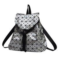 Wholesale Women backpack feminine geometric patchwork sequin plaid backpacks for teenage girls female bagpack drawstring bag mochila