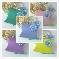 Wholesale Tracking Number Colors Pick x7 x2 cm Pillow Candy Boxes Baby Shower Gift Box Wedding Favors Supplies