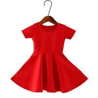 Wholesale 2017 New England style girls dresses fashion summer red clothing for girls T kids A line dresses short sleeve child dresses