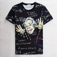 Wholesale Fashion mens tee shirts mathematical formula Einstein printing D T shirt men t shirt short sleeve O neck black base tops SX