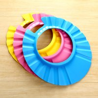Wholesale Chirldren Bathing Cap Baby Bath Shampoo Adjutable Baby Hat Ears There Colors Hair High Quality