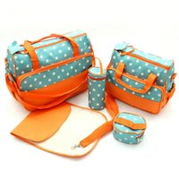 Wholesale Mummy diaper bags Fashion new dots waterproof bags Mother Handbags Multifunction sets bags baby Nappy Changing Bag High capacity A0551