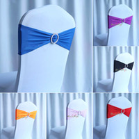 Wholesale Hotel and Home spandex lycra chair bands elastic chair sash chair covers with buckle for weddings