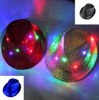 Wholesale Christmas Woman Man Sequins Light Up LED Hip Hop Jazz Hats Cap Flashing Blinking Party New Year b607