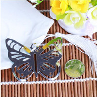Wholesale DHL Butterfly Bookmarks Metal With Tassels Stationery Gifts Wedding Favors Stainless Steel Bookmarks CM CM