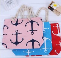 Women anchor tote bag - clutches bags Women Ladies Fashion Boat Anchor Canvas Shoulder Bag Stripes New Summer Beach Handbag Bags Totes