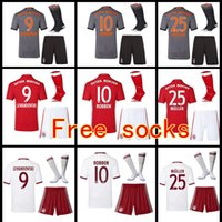 Wholesale 16 Adult suit Home RD soccer Jersey Kits sock VIDAL COATA LEWANDOWSKI MULLER ROBBEN BOATENG ALABA Away