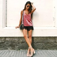 Wholesale TINDERALA Ladies Tops Summer Strap Camisole Women Spring Vest Pink Brown Velvet Basic Sexy Hollow Back Cami Top