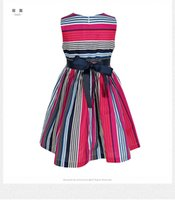 Wholesale 2017 summer Girls New Stripe Dress sleeveless cotton