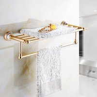 aluminium bathroom accessories - Jieshalang European golden bath towel shelf space aluminium towel rack bathroom pendant bathroom hardware accessories