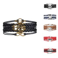 Celtic arrow dragon - Vintage Rope Bracelet Infinity Dragon Arrow Wrap Multilayer Leather Braided Bracelet Charm Bracelets For Women