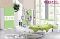 Wholesale MDF Teenage Princess Boy Kids Bedroom Furniture Set with Door Wardrobe Nightstand Bookcase Green