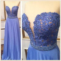bamboo samples - Sexy Long Blue Prom Dresses Sweetheart Beaded Lace Prom Gowns Real Sample A line Lavender Formal Party Dress On Sale