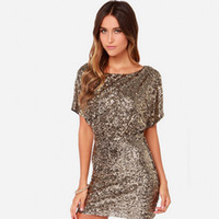 Wholesale Woman Golden Sequin Dresses Fashion Summer Lady Glitter Party Short Sleeve Backless Package Hip Mini Dresses Cocktail Club Wear