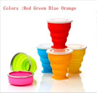 Wholesale Vogue Outdoor Travel Camping Folding Cups silicone Retractable Folded Cups with cover ML Telescopic Drinking Collapsible Drinkware cups