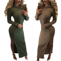 Wholesale Winter Knitted Bodycon Dress High Split Long Sleeves Buttons Striped Outfit Women Casual Party Bodycon Bandage Dresses MC015