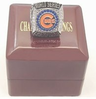 Replica 2016 Chicago CUBS Campeonato Mundial de Béisbol Campeonato Anillo Tamaño 8-14 con caja de madera