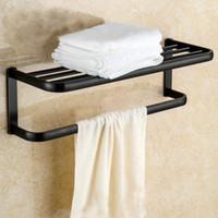 antique bathroom shelf - Antique European Style Black Brushed Hardware Pendant Bathroom Toilet Shelf Hanging Towel Rack Brass Double Towel Racks