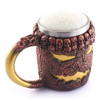 beer halloween gift - 24pcs Creative Magma Monster Retro Bronze Skull Mug Resin Terror Halloween Coffee Cup beer Christmas Gift Beer Mugs