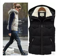 Wholesale 2017 Spring New Fashion Cotton Padded Coats Women Hood Vest Jackets Plus size The lambs wool Black Vest quilted