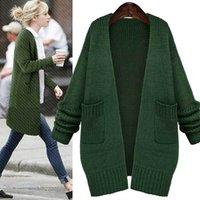 Vente en gros-HOT SALE! 2016Autumn Winter Plus tailles Casual Long Laine Sweater Coat Femmes Noir Crochet Cardigan manches longues Pull en tricot
