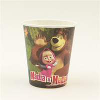 Wholesale disposable paper cups masha and the bear cartoon theme kids suppliers favor drinking birthday party person