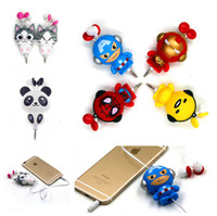 america cell phone - Cute Kawaii Retractable MP3 MP4 Computer Cell phone Earphone With Cheese Cat Panda Iron Man Spider man Captain America Egg Yolk Jun DHL free