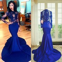 Wholesale Long Sleeves Lace Prom Dress Mermaid Style High Neck See Through Lace Appliques Sexy Royal Blue African Party Evening Gowns