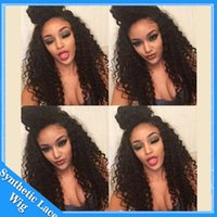 african style lace wig - Hot sale afro kinky curly synthetic wigs brazilian style african american wigs cheap synthetic lace front wig heat resistant for black women